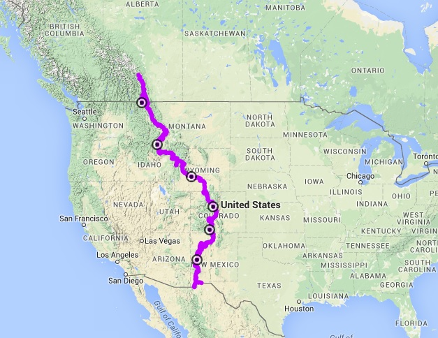 Continental Divide On Us Map.Banff To Mexico Great Divide Mountain Bike Route Chris And