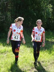 Louise and Emily after  both had qualified for the long distance final.