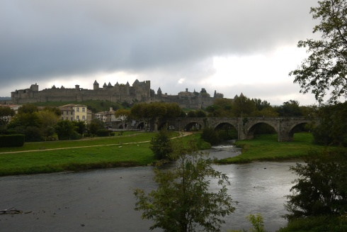 The walled city of Carcassonne and the Vieux Pont as seen from the Neuf Pont on our morning departure. The walled city was massively restored starting in about 1850.