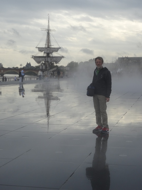 The mirror in the misting portion of its cycle. Behind Chris is a brand new replica of the Brigantine which had arrived in port the day before. General Lafayette sailed from Bordeaux in the Brigantine to help in the American revolution.