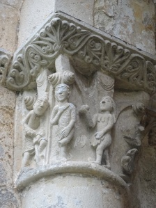 Adam and Eve on the capital of one of the columns