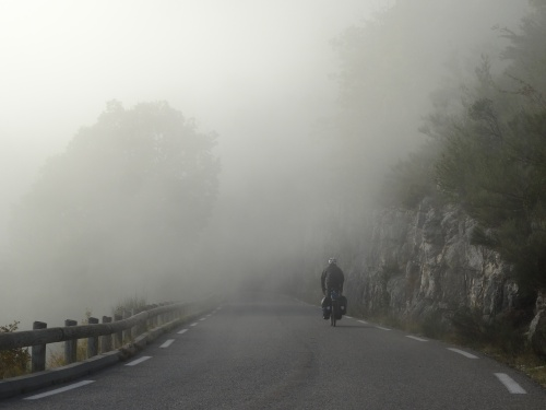 Descending into the mist in the gorge.