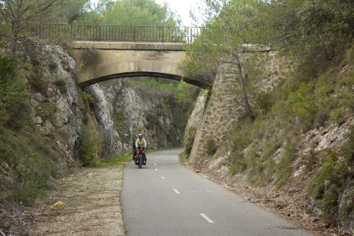 Following the old railway line on the voie verte.