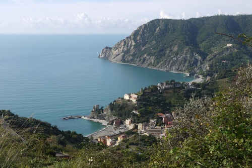Looking back down at Monterosso, 500 metres below.