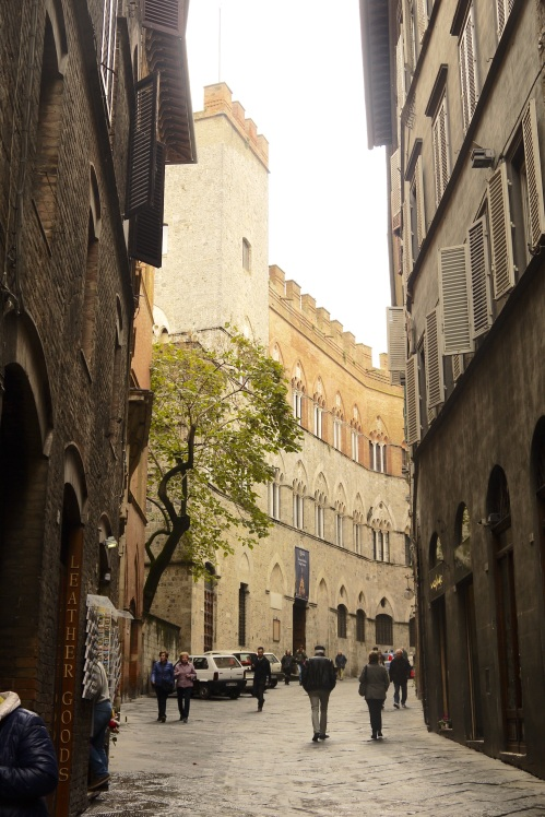 Siena's wide curved streets.