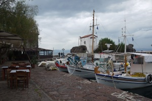 We took coffee at this small port, prior to cycling on the dirt coast road to Molyvos