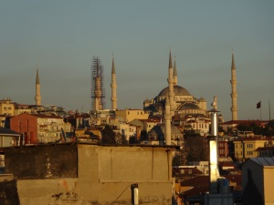 Blue Mosque from the balcony of our apartment
