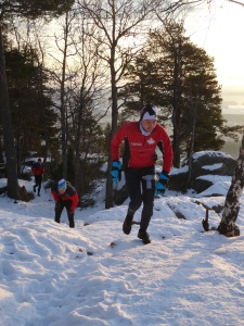 Hill running in the snow
