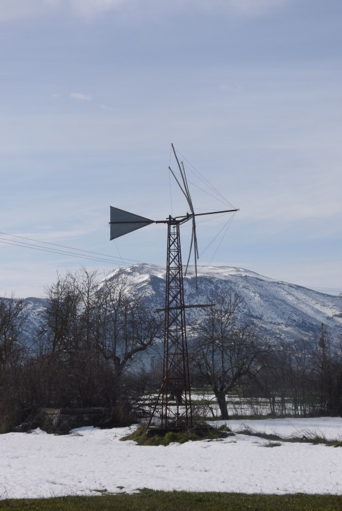 Windmill on Lashini Plateaux. In summer it used to have cloth sails and pump water. Today the water table has dropped and diesel pumps are used.