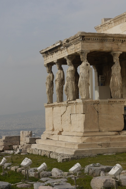 The statue columns of the Erechtheion, at the Acropolis.